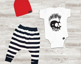 Baby Boy Outfit, Baby Boy Clothes, Baby Leggings, Baby Beanie, Rock n Roll Skull Outfit, Baby Shower Gift, Rock n Roll Outfit, Harem Pants