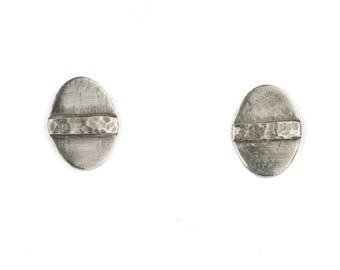 Argentium Silver Oval Stud Earrings