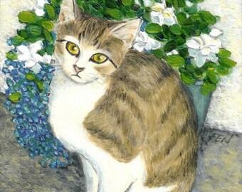 cat art print - A Grey Cat And Flower - cat lover gift wall art deco kid room dorm home desk decoration, A3 print, 6x8 print, 8x10 print