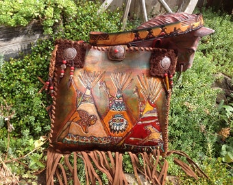 SOLD ***SouthWestern HandTooled Teepee Native American Art Leather Handbag using Repurposed Items