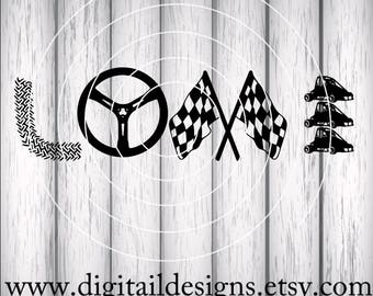 Quarter Midget Racing Love SVG - png - eps -dxf - fcm - ai - Cut file - Silhouette - Cricut - Dirt Car SVG - Dirt Track Love SVG