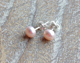 Pale Pink Pearl Sterling Silver Stud Earrings