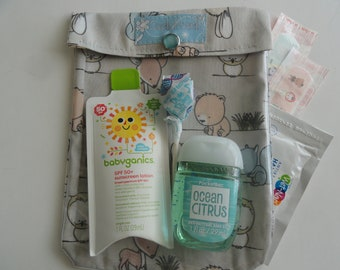 Baby Forest Woodland Animals Ouch Pouch Clear Front First Aid Medicine Toddler Girl Gear Organizer Diaper Bag Baby Shower Gift Medium 5x7