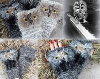 Gray Owl Gloves Hand Knit Mittens Gray Wrist Warmers Owl Fingerless Gloves Animal Gloves Mittens Christmas Gifts for Her