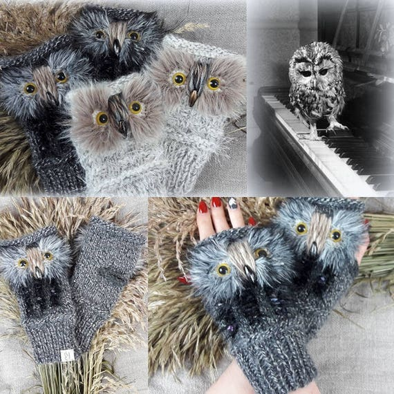 Gray Owl Gloves Hand Knit Mittens Gray Wrist Warmers Owl