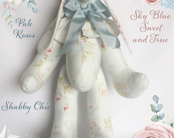Pale blue Shabby Chic floral fabric bunny with pink roses and blue ribbon garland