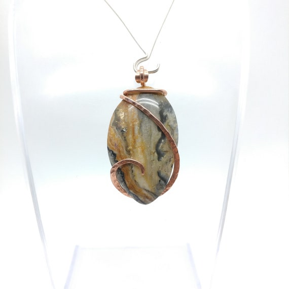 Widowmaker Bumblebee Plume Agate Pendant | Lace Agate Necklace | Copper Pendant | Rare Stone Pendant | Included Agate Pendant