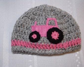 Newborn Pink Tractor Beanie Hat Crocheted