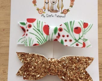 Set of 2 hairclips - glitter and flowers bows