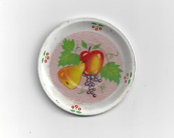 Vintage Tin Saucer with Fruit Art, 1950s