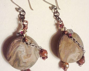 Artisan Stone Earring Wire Wrapped Polymer Clay Earring Hand Crafted Beaded Copper Earrings Earth Colors Boho Style Earring Bohemian Glitz