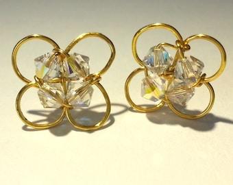 Swarovski Crystal Gold Post Stud Earrings