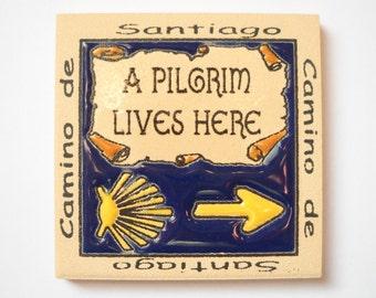 Camino de Santiago Way of St. James Pilgrim Fridge Magnet Tile