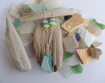 Turquoise and White Sea Glass Necklace, Authentic Sea Glass, Sterling Silver Chain