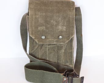 Messenger Bag, Vintage Canvas Messenger bag, Military Shoulder Bag, Army Canvas Military Shoulder Bag, Canvas Cross Body Bag from 1980's