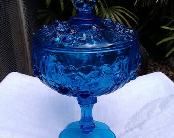 Fenton Cabbage Rose Colonial Blue Covered Candy Dish Compote