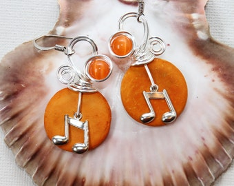 Music Jewelry, Music Note, Gifts for Musicians, Musical Notes, Gift for Singer, Orange Earrings, Fun Jewelry, Colorful, Funky Earrings