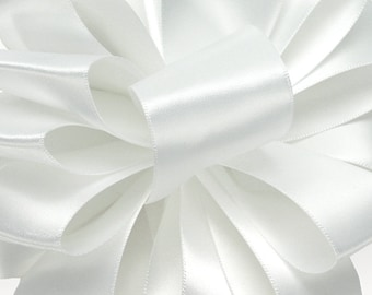 "Satin Ribbon, 1 1/2"" wide, White Double Sided Satin - FIFTY YARD ROLL -  Offray  White #9 dfs Wedding Ribbon"