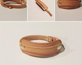 Double Cuff Leather Bracelet