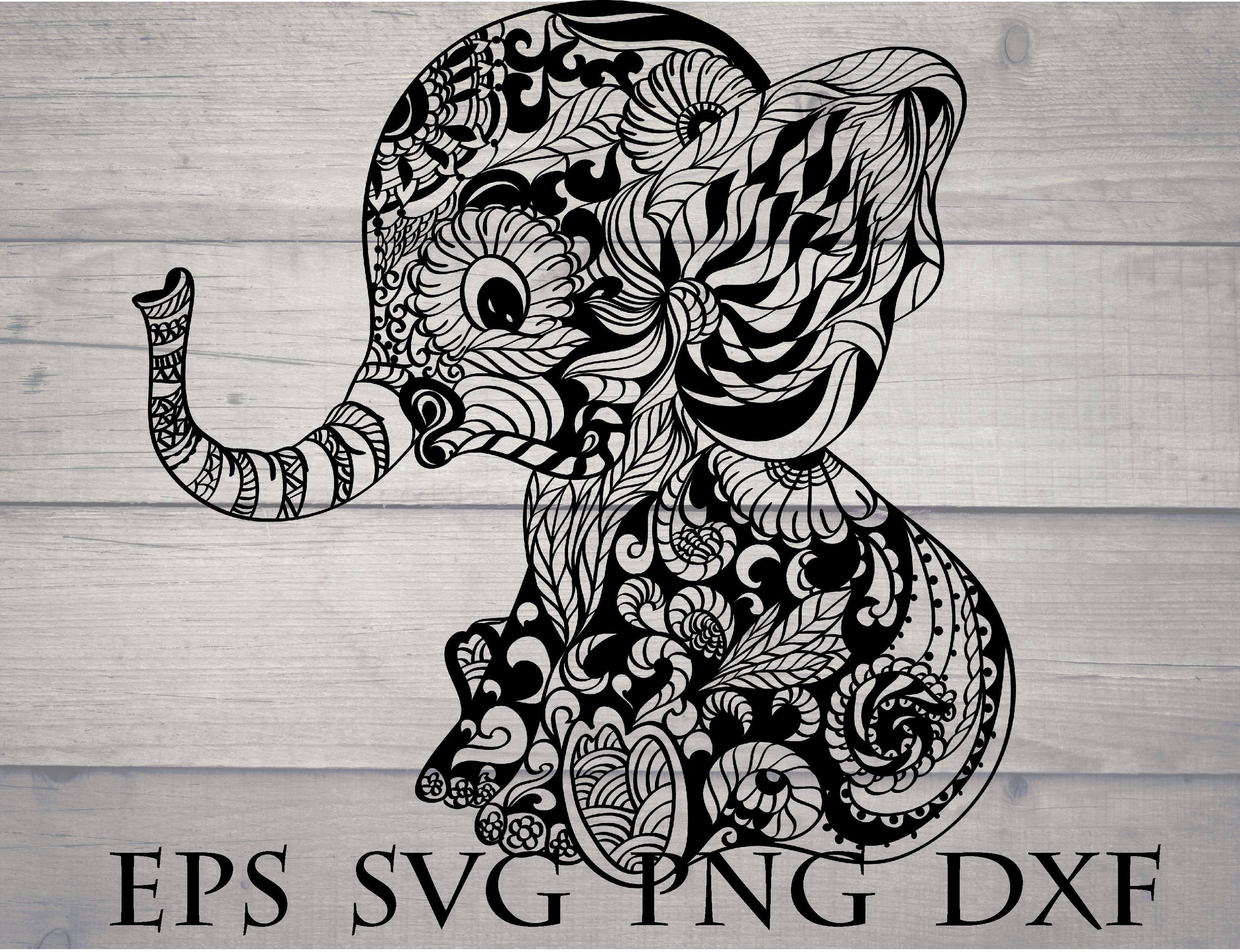 Elephant Mandala Svg Elephant Zentangle Svg Mandala