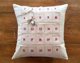 Advent Christmas Pillow / embroidered advent calendar / decoration / jingle bell / count down to Christmas / gift idea