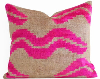 Handwoven Silk ikat pillow, pink velvet pillow, throw pillow, velvet ikat pillow, neon pink pillow, pink cushion, ikat throw pillows
