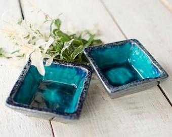 Handmade bowls, ceramic bowls, square bowl, set of bowls, teal bowl, ceramic plate, handmade pottery, weeding gift, turquoise bowl, set od 2