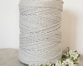 Mist Grey 4mm Twisted 3 Ply Rope - Macrame Cord Light Gray 1kg Roll