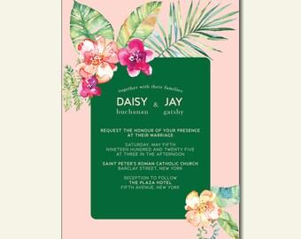 Tropical Flowers Printable Wedding Invitation