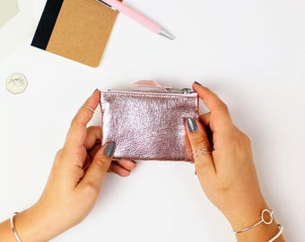 Rose Gold Leather Coin Pouch // Leather coin purse, Coin holder, Leather purse, Change pouch, Pouch, Small change purse, Leather coin wallet