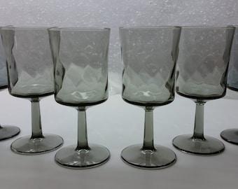GRAY SWIRL WINE Glasses Vintage Set of 6 Goblets Circa 1960's - 1970's Gray Pillar Barware