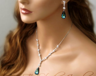 Peacock Bermuda Blue Teardrop Crystal Bridal Bridesmaid Necklace and Earring Set - MARISSA