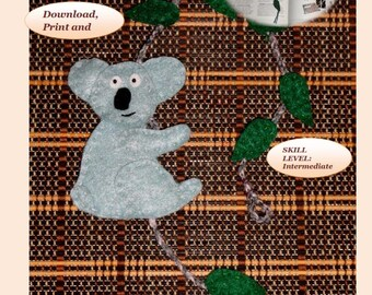 PDF sewing patterns with step by step illustrated instructions to make a  4x4.5 in  Koala Bear Bookmark.