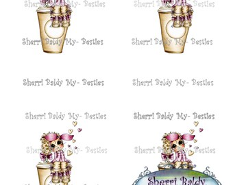 INSTANT DOWNLOAD Big Eye Big Head Dolls NEW Coffee Bestie 3D Deco Color Printable Sheet My Besties By Sherri Baldy