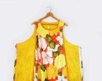 Vintage Walkaway Wrap Dress 1960s Sleeveless Maxi Dress Large Floral Hawaiian Acetate Summer Evening Dress Size Medium Yellow Orange White