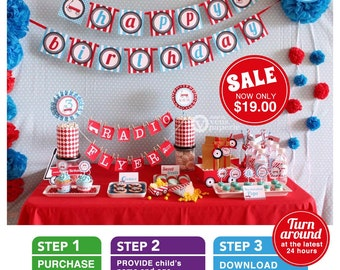 Radio Flyer Red Wagon Party Package Personalized FULL Collection Set  - PRINTABLE DIY - PS817CA1x