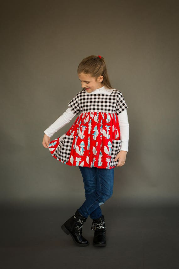 Girls Winter Fox Tunic - Red Fox Tunic with Black and Gray Plaid - Fox Pocket Tunic