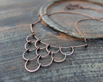 """Copper or sterling silver statement necklace """"Undine"""", bib necklace, rustic, metalwork, scale,cascade necklace, hand forged. oxidized"""