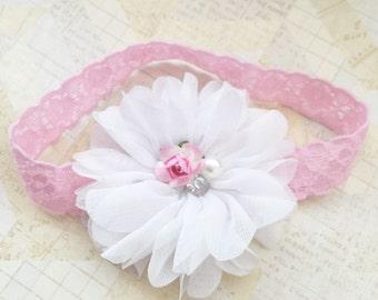 White and pink lace headband,lace hadband,pink headband,white headband,floral headband,flower girl headband,newborn headband,baby girl