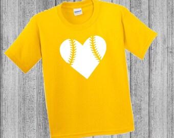 CUSTOM FOR STEPHANIE/Youth Baseball Tee/Unisex Baseball Tee/Baseball Heart/Boys and Girls Baseball Tee Shirt (Daisy Yellow)