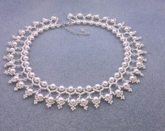 "Beading4perfectionists:  ""The Queen's pearls""  ADVANCED tutorial. Necklace beading pattern PDF file"