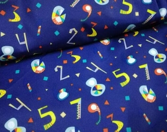 Kid Fabric for Down Coat Number Print Blue Color