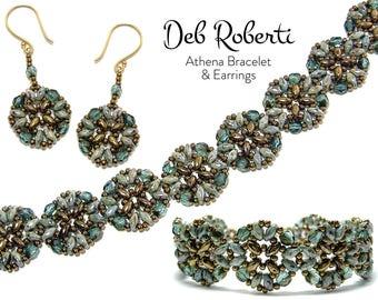 Athena Bracelet and Earrings beaded pattern tutorial by Deb Roberti