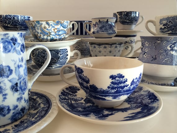 Like this item? & Mismatched Blue White Cups \u0026 Saucers Floral Stripe Toile