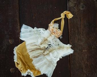NB mustard and ruffles Dress Set.