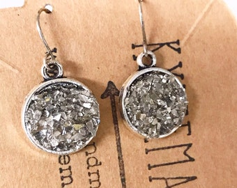 Bridal Earrings, Sparkle Silver Drop Earrings, Druzy Look Earrings, Dangle Earrings that Sparkle, Evening Earrings