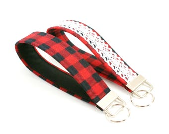 Red and Black Buffalo Plaid Check Key Fob - Choose One - 5 Inch Loop Key Strap - Key Wristlet - Key Chain - Fabric Keychain - Key Ring