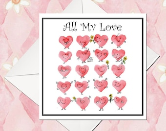 Happy Hearties All My Love... Greeting card