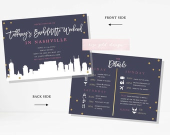 Nashville Bachelorette Party Invitation and Itinerary, Nashville Bachelorette Party Printable Invitation, Nashville Skyline Invitation