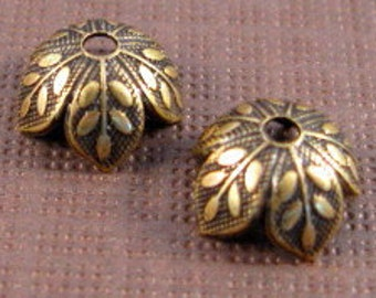 8mm Etched Leaf Bead Caps in Antique Gold by Nunn Design - 6 Count